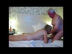 Grandpa cums twice in her mouth