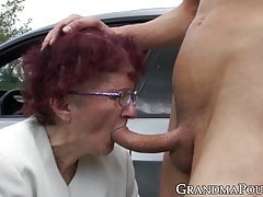 Redhead Grannie Gargles Off Youthfull Man At Secret Outdoor Place