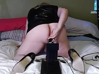 Lingerie Shemale Hd Videos Sex Toy Shemale video: TS Cristy gets Pounded in Black Latex by Machine