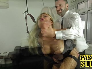 .Fishnets bombshell Joanna Bujoli anally rammed with big cock.