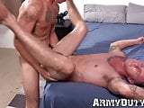 Inked soldier tries to cum while having cock in his ass