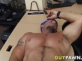 Straight biker rides cock for cash in the pawnshop