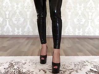 Latex Big Ass High Heels video: VINYL LEGGINGS
