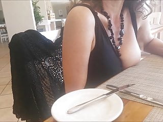 Amateur Public Nudity Big Tits video: boobs out in restaurant