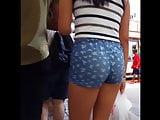 Candid voyeur tight teen tiny shorts hot legs shopping