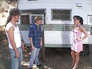 Double Penetration Threesome Girl video: Hot trailer girl Ashley gets tight holes fucked by rednecks
