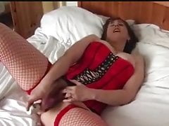 Busty Mature Fingers and Toys in Red Fishnets