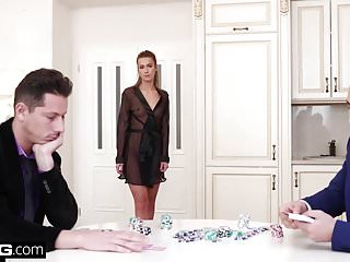 Anal Blondes xxx: Glamkore - Alexis Crystal poker game turns into DP session