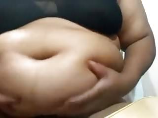 BBW in black lingerie worships belly and bellybutton 1