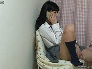 Japanese Schoolgirl Yurina Telephone Call Masturba