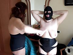 Session with mistress: slapping tits, face, ass