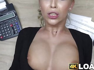 Blonde Blowjob Big Cock video: Blonde beauty drilled missionary style for the money loan