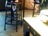 Candid Starbucks Feet and Legs 2 women Shoeplay 3 mins in