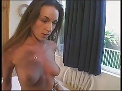 Skinny brunette with nice tits lifts her leg for dude to lick her hairless cunt
