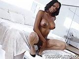 Ebony TS Brooke Morgan twists lovely body and twirls her BBC