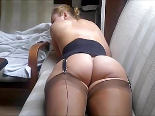 Amateur Stockings Big Ass video: In my brown FF nylon stockings in a corset with a naked ass