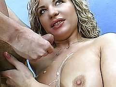 Girlfriend with big tits toys her pussy and gives full head