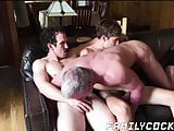 Mature daddy barebacked hard by hung stepsons
