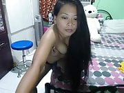 hot mature babe with longhaired stripteas on cam