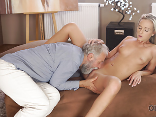 Blonde Blowjob Mature video: OLD4K. Horny Geography teacher gives student a hot sex lesso