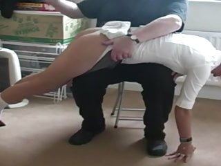 Bdsm Spanking Blonde video: Pretty English Woman in School Uniform Spanking