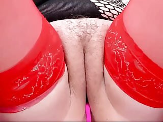Bbw Stockings Fingering video: Chubby girl in red stockings shows off her pussy