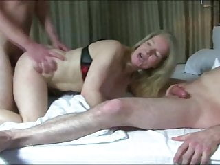 German Double Penetration Blowjob video: Naughty Mature MILF Loves Double Penetration with Two Boys