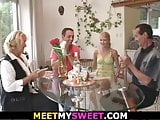 Mature couple fuck girl at her birthday