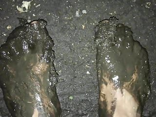 Walking around barefoot in the mud