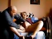 elderly couple playing