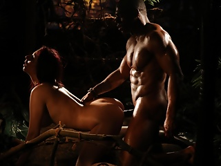 Blowjob Kissing Milf video: Interracial Sexual Healing in the Jungle