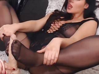 Foot Fetish Pantyhose Dildo video: Nylon lesbian play with dildo