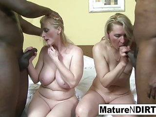 Mature Granny Hd Videos video: Two blonde grannies have an interracial foursome