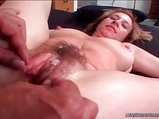 Blonde Blowjob Big Cock video: Mature getting her hairy pussy wrecked by stud lover