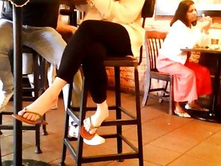 Candid Asian Feet In Flip Flops at Starbucks 2019 Easter