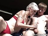 Pixie grandma swallows young cock beneath bridge