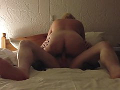 Creampie my married sexy 55 year old wife in a hotel .