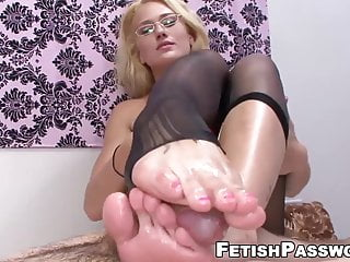 Foot Fetish Blonde Small Tits video: Feet worshiped babe gives footjob while fingered in pussy