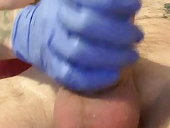 Sounding and cum with rubber glove 1