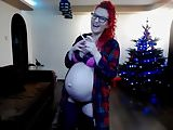 Pregnant Nikole Christmas smoking