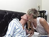 Hot granny teaches naughty redhead how to suck grandpa