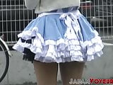 Asian teen dressed up for hidden camera in public