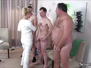 German MILF Nurse fuck with 3 Stranger at Pattern