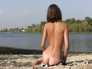 Amateur Tits Beach video: Skinny Alinea Nude Down By the River