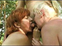 Russischer reifer Amateur-Gruppensex in der Natur