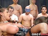 Busty group banged slut