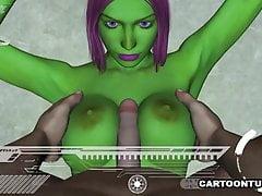 3D Alien hat ihre Titten und Pussy gefickt