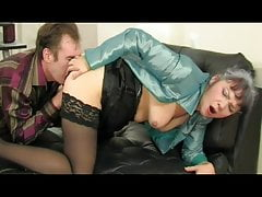 Aged woman gets licked and fucked by her younger lover