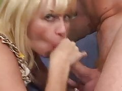 Old busty blonde granny and man with DICKGUN