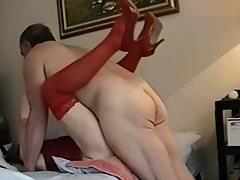Grandma cums in Red